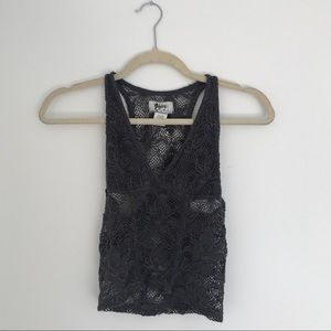 Nightcap clothing French lace mesh crop top
